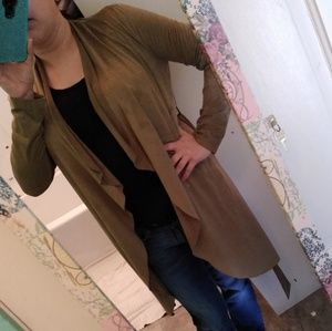 Sweaters - Olive Green Suede Cardigan